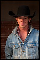 Man with cowboy hat and blue jeans. Fort Worth, Texas, USA ( color)