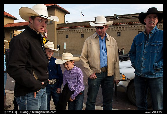 Family wearing cowboy hats, Stockyards. Fort Worth, Texas, USA (color)
