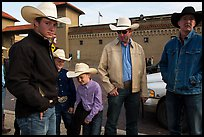 Family wearing cowboy hats, Stockyards. Fort Worth, Texas, USA ( color)
