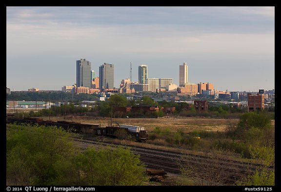Railroad tracks and skyline. Fort Worth, Texas, USA (color)