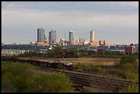 Railroad tracks and skyline. Fort Worth, Texas, USA ( color)