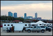 Trucks with horse trailers and skyline. Fort Worth, Texas, USA ( color)