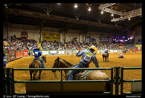 Indoor Rodeo, Cowtown coliseum. Fort Worth, Texas, USA (color)