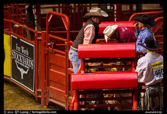 Men and gates, Stokyards Rodeo. Fort Worth, Texas, USA (color)
