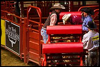 Men and gates, Stokyards Rodeo. Fort Worth, Texas, USA ( color)