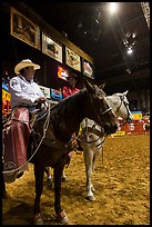 Men with horses and lassos, Stokyards Rodeo. Fort Worth, Texas, USA ( color)