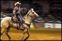Rodeo contestant riding horse. Fort Worth, Texas, USA ( color)