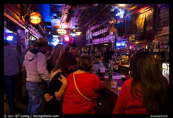 Inside White Elephant bar. Fort Worth, Texas, USA (color)
