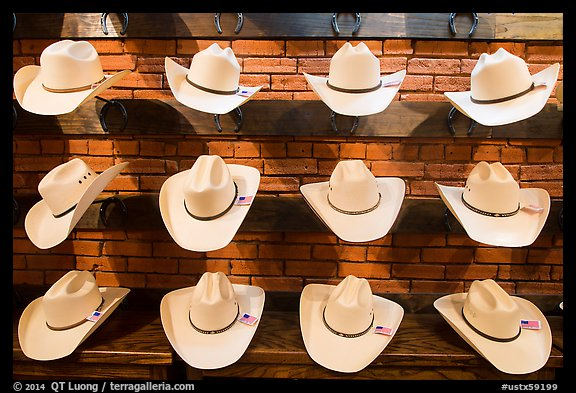 Light cowboy hats for sale. Fort Worth, Texas, USA (color)