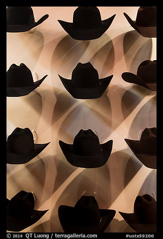 Dark cowboy hats for sale. Fort Worth, Texas, USA (color)