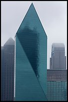 Skyscrapers in rain. Dallas, Texas, USA ( color)