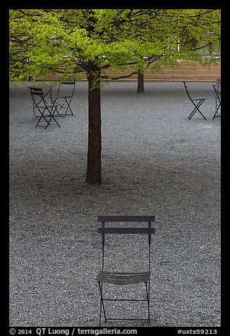 Chairs and trees in courtyard of Dallas Museum of Art. Dallas, Texas, USA (color)