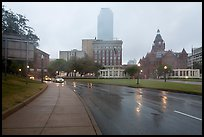 Dealey Plazza in the rain. Dallas, Texas, USA ( color)