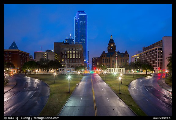Dealey Plazza and skyline at dusk. Dallas, Texas, USA (color)