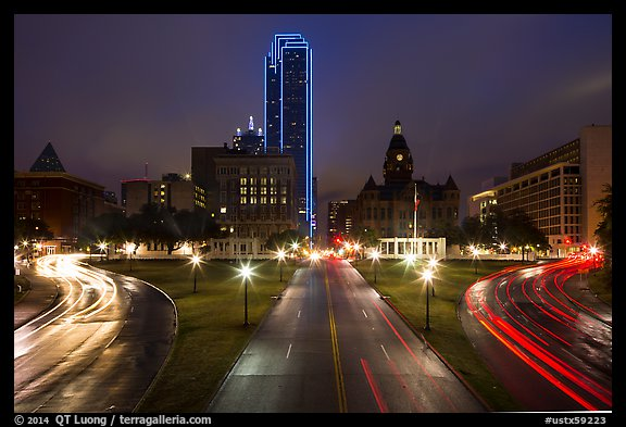 Dealey Plazza and skyline by night. Dallas, Texas, USA (color)