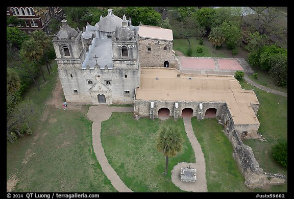 Aerial view of Mission Concepcion. San Antonio, Texas, USA (color)