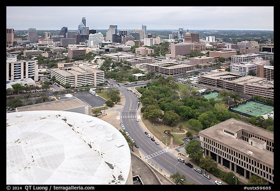 Aerial view of Austin skyline from above Frank Erwin Center. Austin, Texas, USA (color)