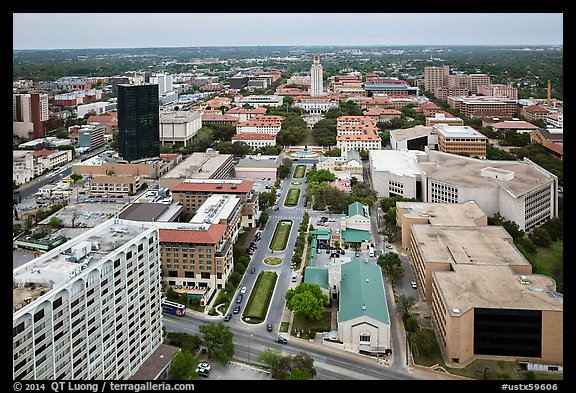 Aerial view of University of Texas. Austin, Texas, USA (color)