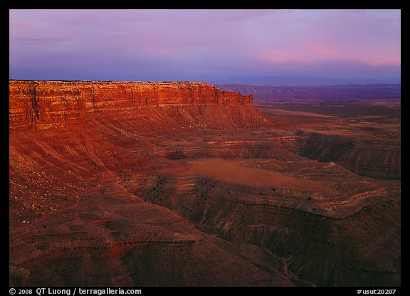 Cliffs near Muley Point, dusk. USA (color)