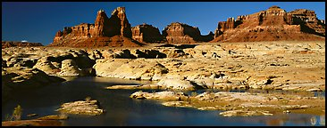 Lake Powell and cliffs, Glen Canyon National Recreation Area, Arizona. USA (Panoramic color)