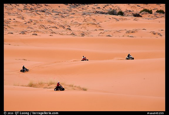 Four-wheelers on dunes, Coral pink sand dunes State Park. Utah, USA (color)