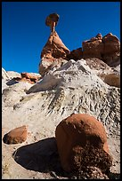Rock and capped sandstone spire. Grand Staircase Escalante National Monument, Utah, USA ( color)