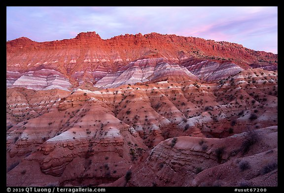 Chile formation badlands at dusk. Grand Staircase Escalante National Monument, Utah, USA (color)