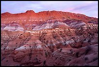Chile formation badlands at dusk. Grand Staircase Escalante National Monument, Utah, USA ( color)
