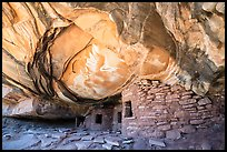 Ruin in alcove with collaposed ceiling. Bears Ears National Monument, Utah, USA ( color)