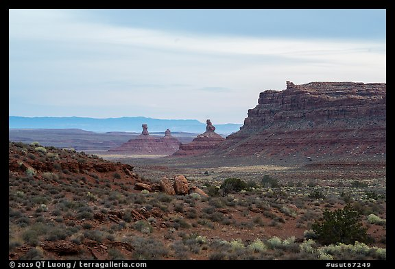 Cliff and monoliths at dusk, Valley of the Gods. Bears Ears National Monument, Utah, USA (color)