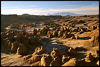 Goblin Valley from the main viewpoint, sunrise, Goblin Valley State Park. Utah, USA ( color)