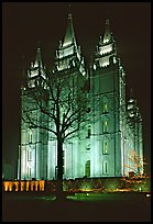 Great Mormon Temple with Christmas lights, Salt Lake City. Utah, USA (color)