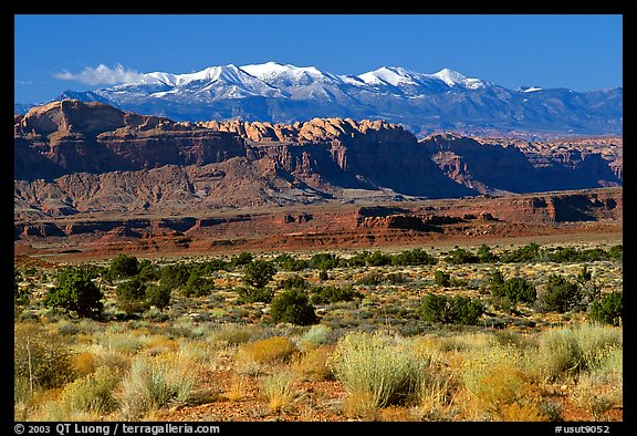 Sandstone cliffs and Henry mountains. Utah, USA (color)