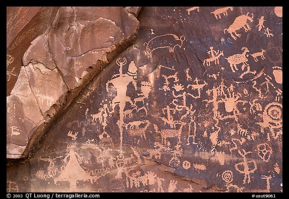 Petroglyphs on Newspaper rock. Bears Ears National Monument, Utah, USA (color)
