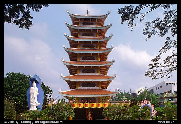 Eight-story tower of Vinh Ngiem pagoda, district 3. Ho Chi Minh City, Vietnam (color)
