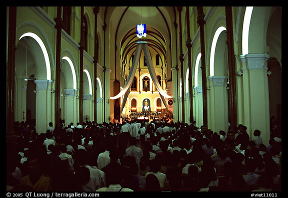 Christmas mass, Cathedral St Joseph. Ho Chi Minh City, Vietnam (color)