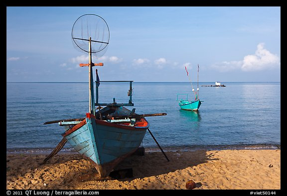 Fishing skiffs, Long Beach. Phu Quoc Island, Vietnam (color)