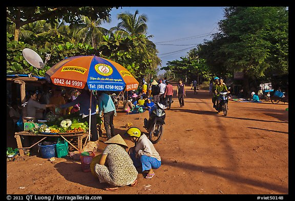 Street market in village along Long Beach. Phu Quoc Island, Vietnam (color)