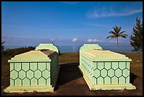 Tombs and sea, Long Beach. Phu Quoc Island, Vietnam (color)