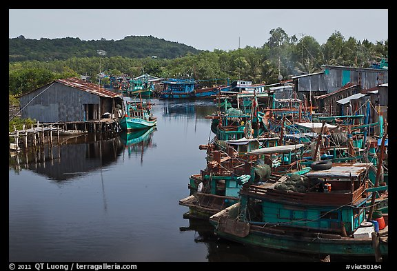 River lined up with fishing boats. Phu Quoc Island, Vietnam (color)