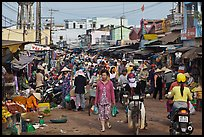 Crowds in public market, Duong Dong. Phu Quoc Island, Vietnam ( color)