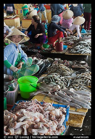 Woman selling sea food, Duong Dong. Phu Quoc Island, Vietnam (color)