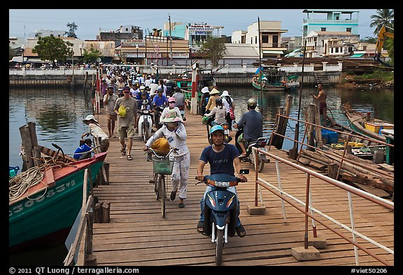 Crossing the mobile bridge over Duong Dong river, Duong Dong. Phu Quoc Island, Vietnam (color)