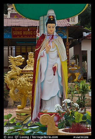 Statue in front of buddhist temple, Duong Dong. Phu Quoc Island, Vietnam (color)