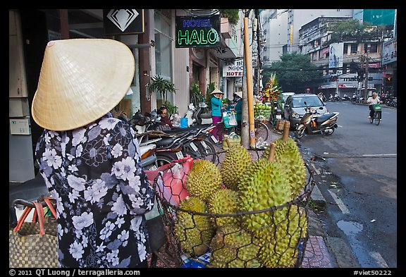 Durians for sale on street. Ho Chi Minh City, Vietnam (color)