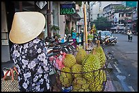 Durians for sale on street. Ho Chi Minh City, Vietnam
