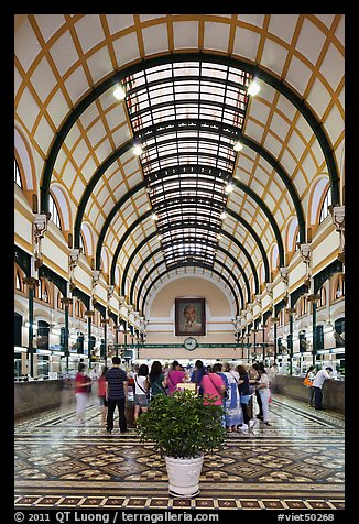 Inside colonia-area Central Post Office. Ho Chi Minh City, Vietnam (color)