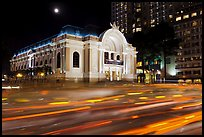 Light trails and Municipal Theater at night. Ho Chi Minh City, Vietnam (color)