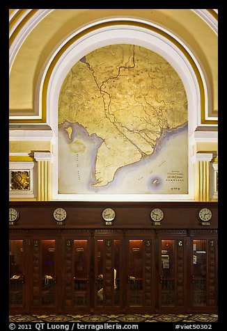 Phone booths and colonial-area map, Central Post Office. Ho Chi Minh City, Vietnam (color)