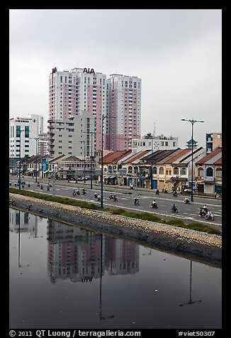 Newly developped banks of the Saigon Arroyau. Cholon, Ho Chi Minh City, Vietnam (color)